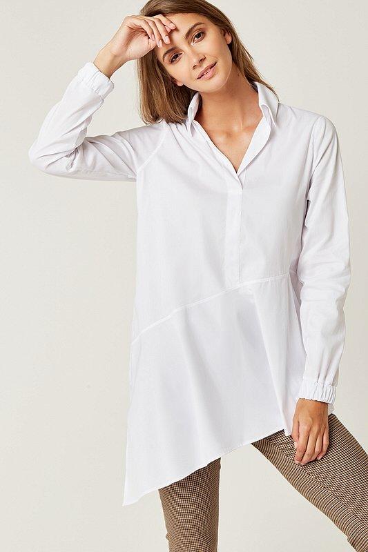 7d999aaea989 Dámske tričká a mikiny   Dámska asymetrická košeľa - Biela