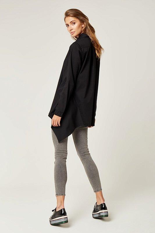 1c57f8e1fc57 Dámske tričká a mikiny   Dámska asymetrická košeľa - Čierna