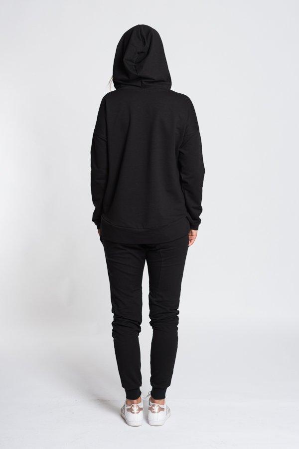 Dámske tričká a mikiny   Dámska mikina bez potlače s kapucňou - čierna b6b70e63598