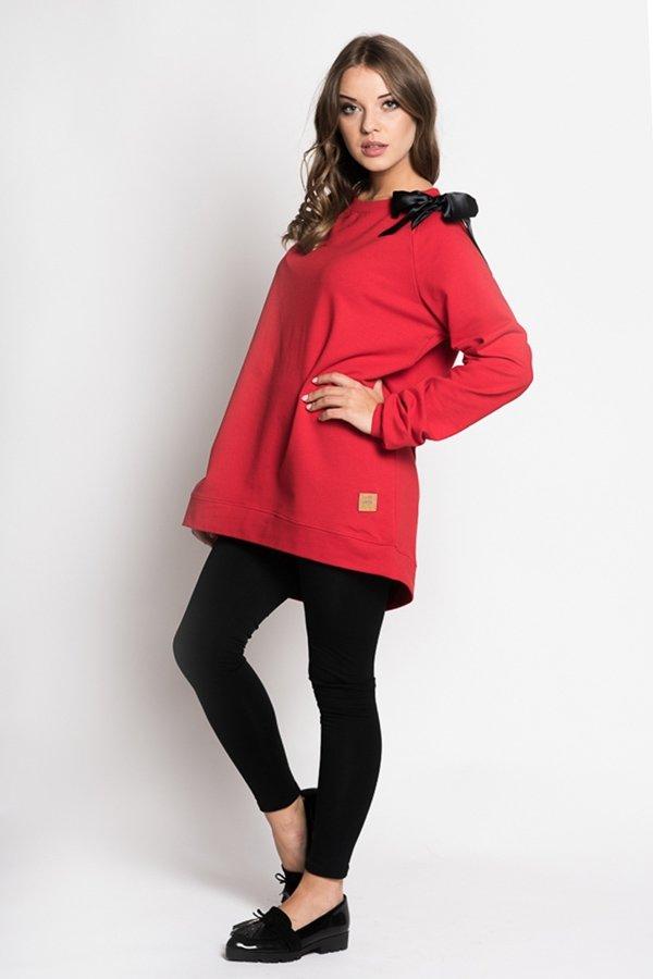 381f876e5 Dámske tričká a mikiny / Dámska predĺžená mikina s mašlou Lovely - červená