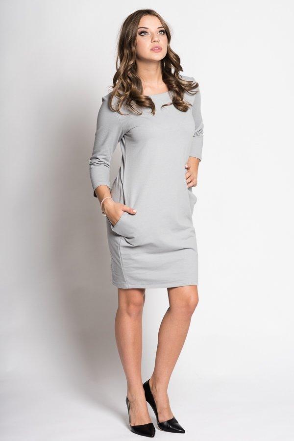 c657b098e Dámske šaty s 3/4 rukávom Basic - sivé | LUMIDE | lovel.sk ...