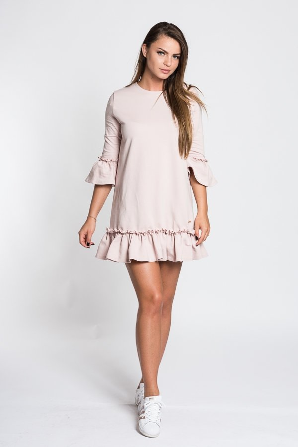 27c0110c2321 Dámske šaty s 3 4 rukávom Butterfly - púdrovo ružové
