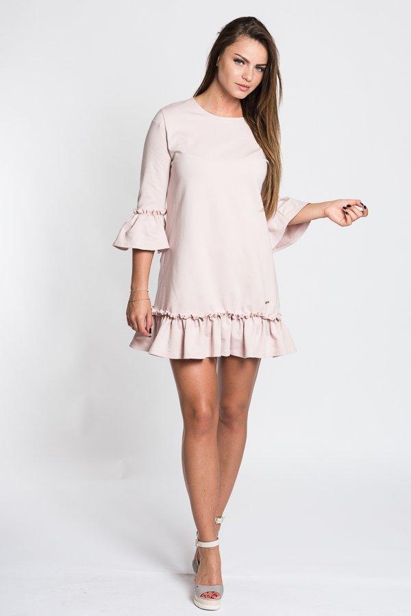 f2ca9e228f Dámske šaty s 3 4 rukávom Butterfly - púdrovo ružové