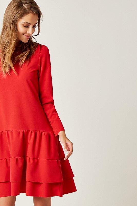 dc866762e462 Dámske šaty s dlhým rukávom Ruffle - Červené