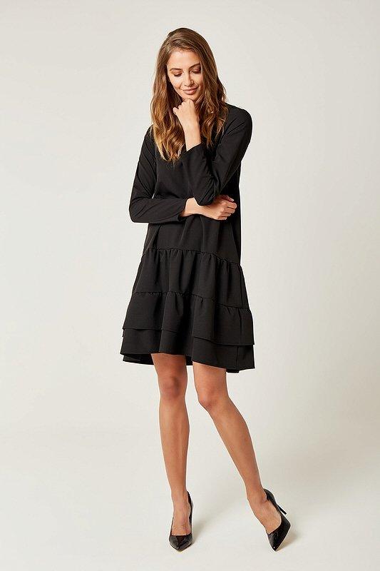 14d482e91893 Dámske šaty s dlhým rukávom Ruffle - Čierne