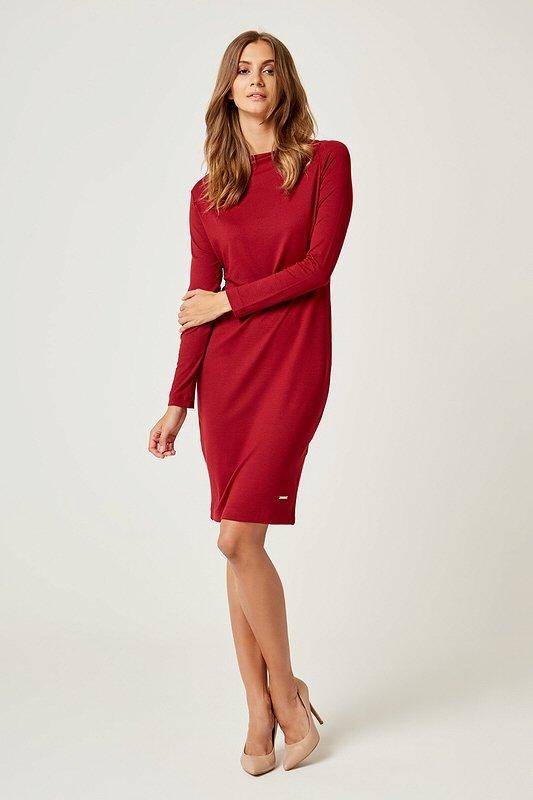 Dámske šaty s dlhým rukávom Sexi Basic - Bordové  800418019c4