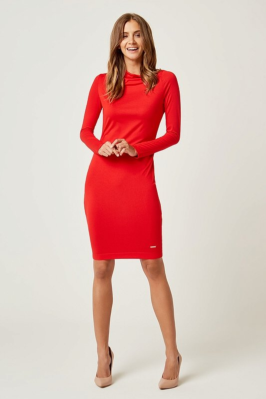 Dámske šaty s dlhým rukávom Sexi Basic - Červené  a1f68001dd5