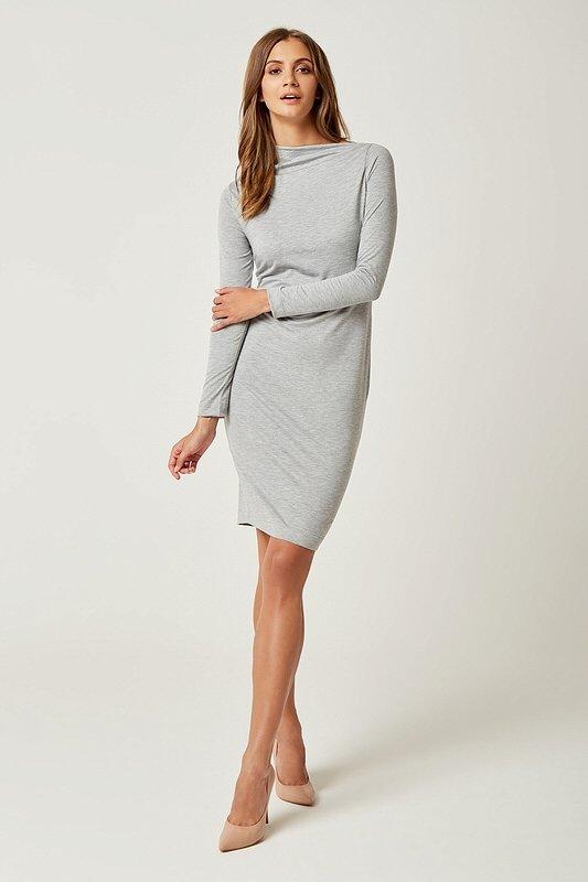 008e6cbdd7 Dámske šaty s dlhým rukávom Sexi Basic - Sivé