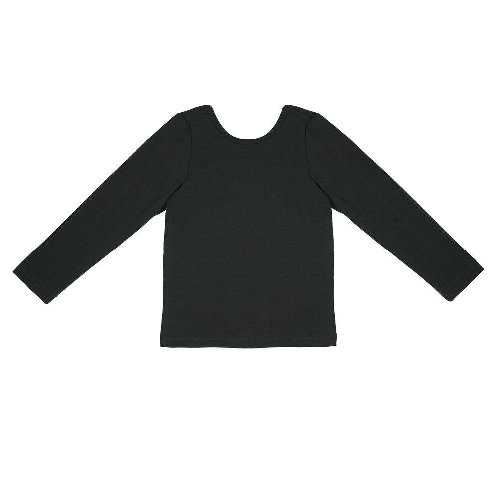 6d49df080a5a Tričká s dlhým rukávom   Detské tričko s dekoltom na chrbte - Čierne