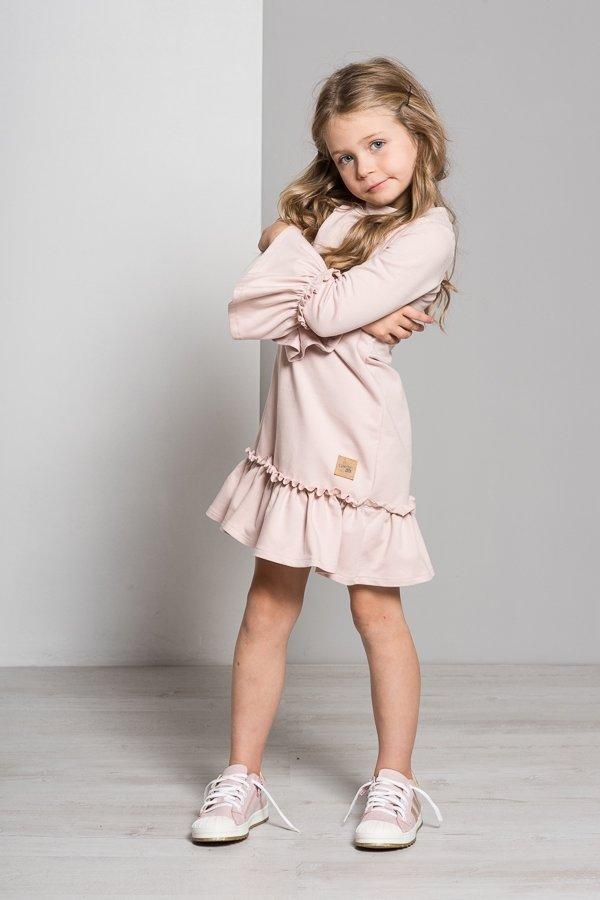 f90ca2a22085 Dievčenské šaty s dlhým rukávom Butterfly - púdrovo ružová
