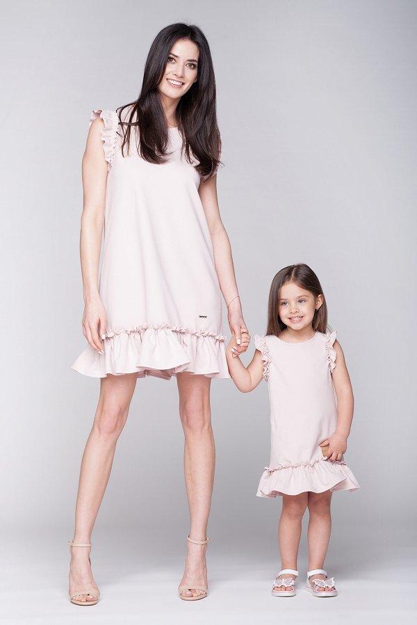 3c0adb7a199f Mama a dcéra   Set letné šaty mama a dcéra Butterfly - púdrovo ružové