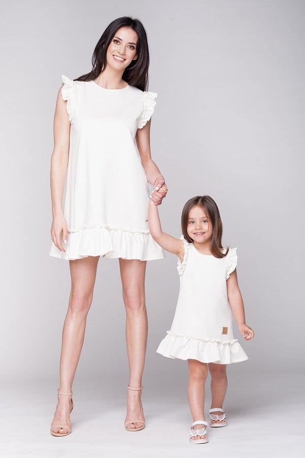 4ebb130a0274 Mama a dcéra   Set letné šaty mama a dcéra Butterfly - krémové