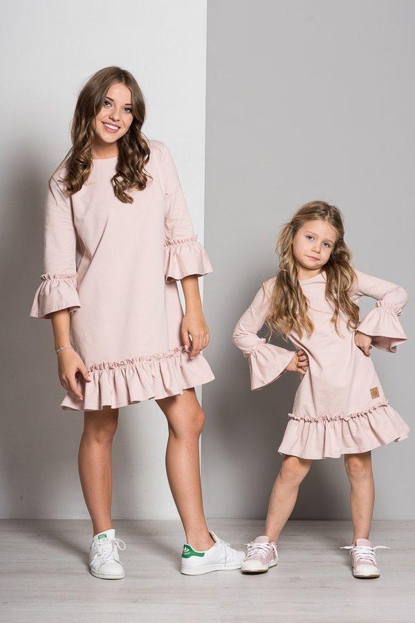 b98ee940fc96 Mama a dcéra   Set šaty mama a dcéra Butterfly - púdrovo ružové