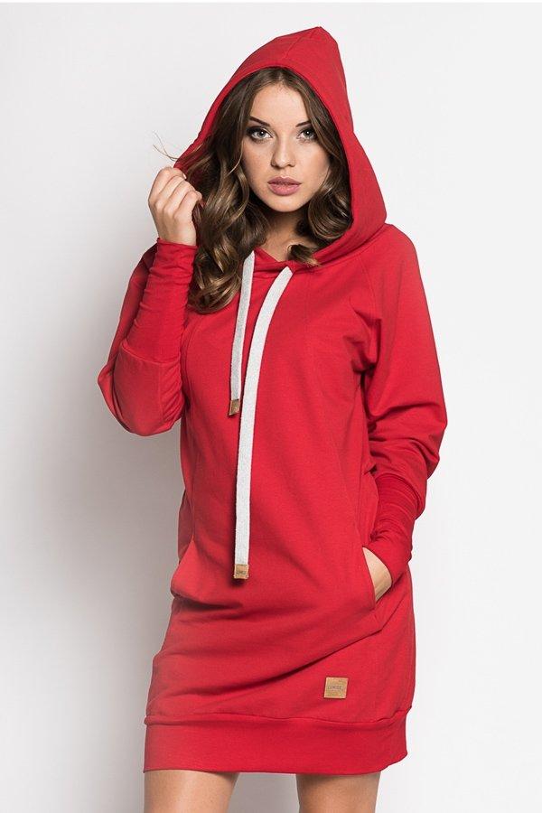 Štýlové dámske mikinové šaty Independent - červené  9378b91274