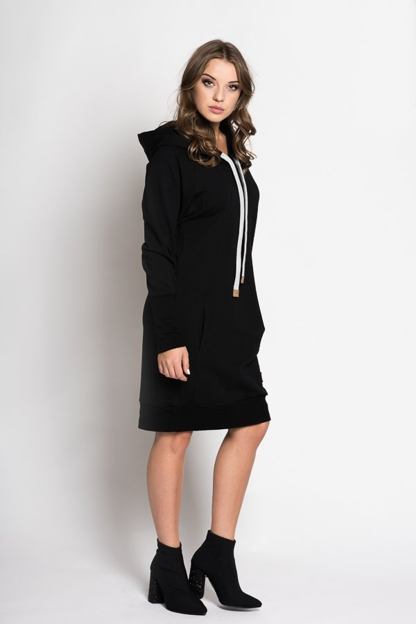 9c29b7e618b41 Dámske šaty, sukne / Štýlové dámske mikinové šaty Independent - čierne