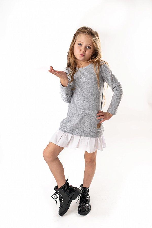 8b5faf9e5f01 Mama a dcéra   Set štýlové voľnočasové šaty mama a dcéra Be happy - Sivé