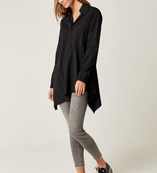 fa4e480d2577 ... Dámske tričká a mikiny   Dámska asymetrická košeľa - Čierna ...