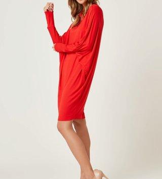 f887a3d896ee Dámske šaty s dlhým rukávom Magic - Červené