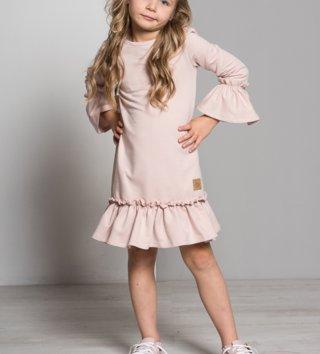 67d5fbd59ee3 Dievčenské šaty s dlhým rukávom Butterfly - púdrovo ružová