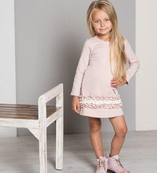 fbdb97c6bc4a Dievčenské šaty s dlhým rukávom Cutie - púdrovo ružové