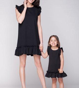 3316a201c160 Set letné šaty mama a dcéra Butterfly - čierne