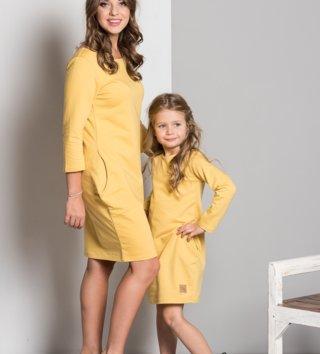 02c498d515b2 Set šaty mama a dcéra Basic - medovo žlté