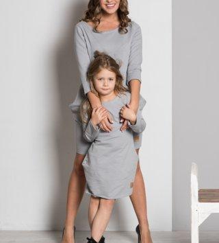 c0862143fe02 Set šaty mama a dcéra Basic - sivé
