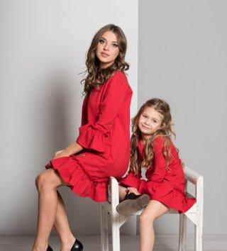 b0fb1012ffe0 Set šaty mama a dcéra Butterfly - červené