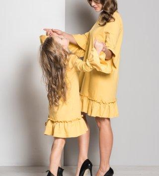 32d024408519 Set šaty mama a dcéra Butterfly - medovo žlté