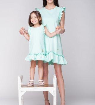 0b20799972f4 Set letné šaty mama a dcéra Butterfly - mint