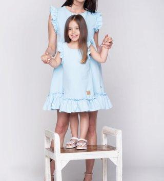 3f36f2882f60 Set letné šaty mama a dcéra Butterfly - nebeské modré