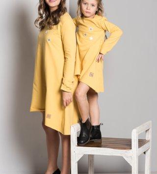 935a2af1c9fb Set šaty mama a dcéra Stars - žltá