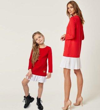 10e667ccf954 Set štýlové voľnočasové šaty mama a dcéra Be happy - Červené