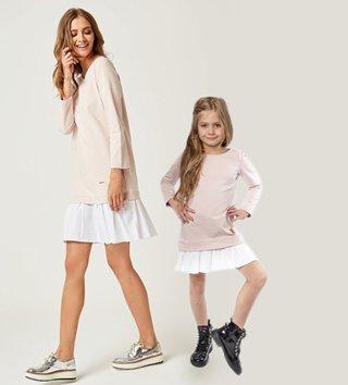 01068ab6e56b Set štýlové voľnočasové šaty mama a dcéra Be happy - Púdrovo ružové