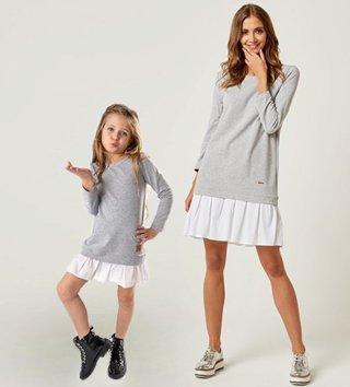 686887a79099 Set štýlové voľnočasové šaty mama a dcéra Be happy - Sivé