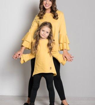 ea62432b6e5c Set tunika mama a dcéra Butterfly - žltá