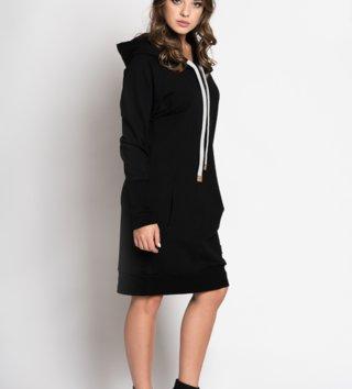 73201345831e Štýlové dámske mikinové šaty Independent - čierne