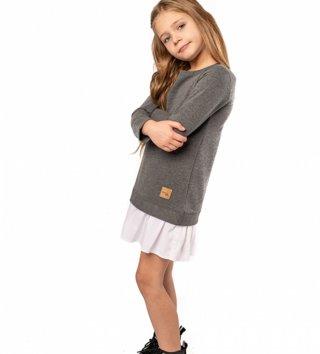 e8912a6151b4 Štýlové detské voľnočasové šaty Be happy - Tmavosivé